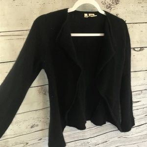 Moth black angora lambswool open cardigan small